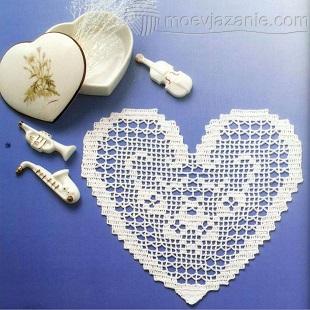 филейное вязание крючком - сердце