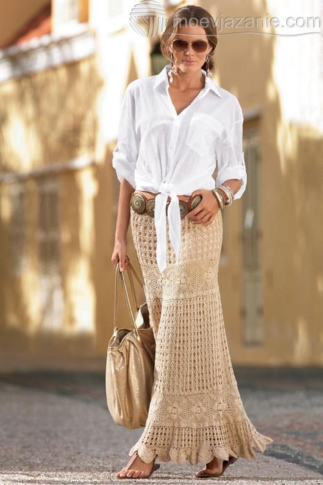 фото юбки связанной крючком