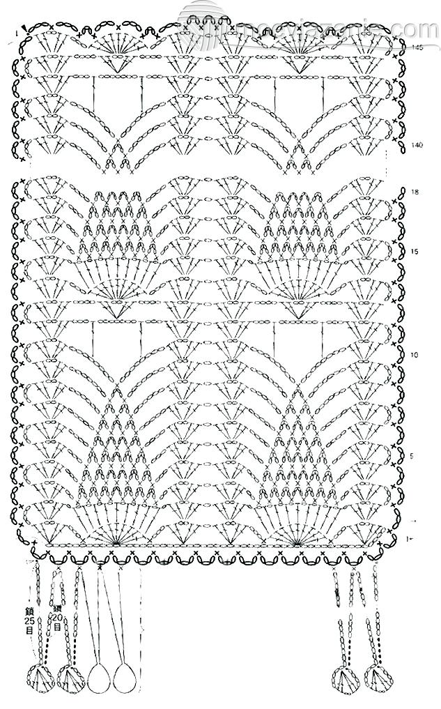 Схема филейного вязания крючком салфеток, скатерти 71
