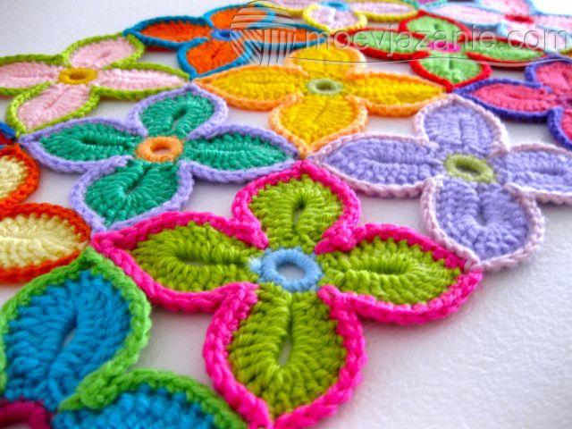 вязание цветов крючком Moevjazanie