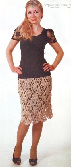 Вязаные юбки узором ананасы