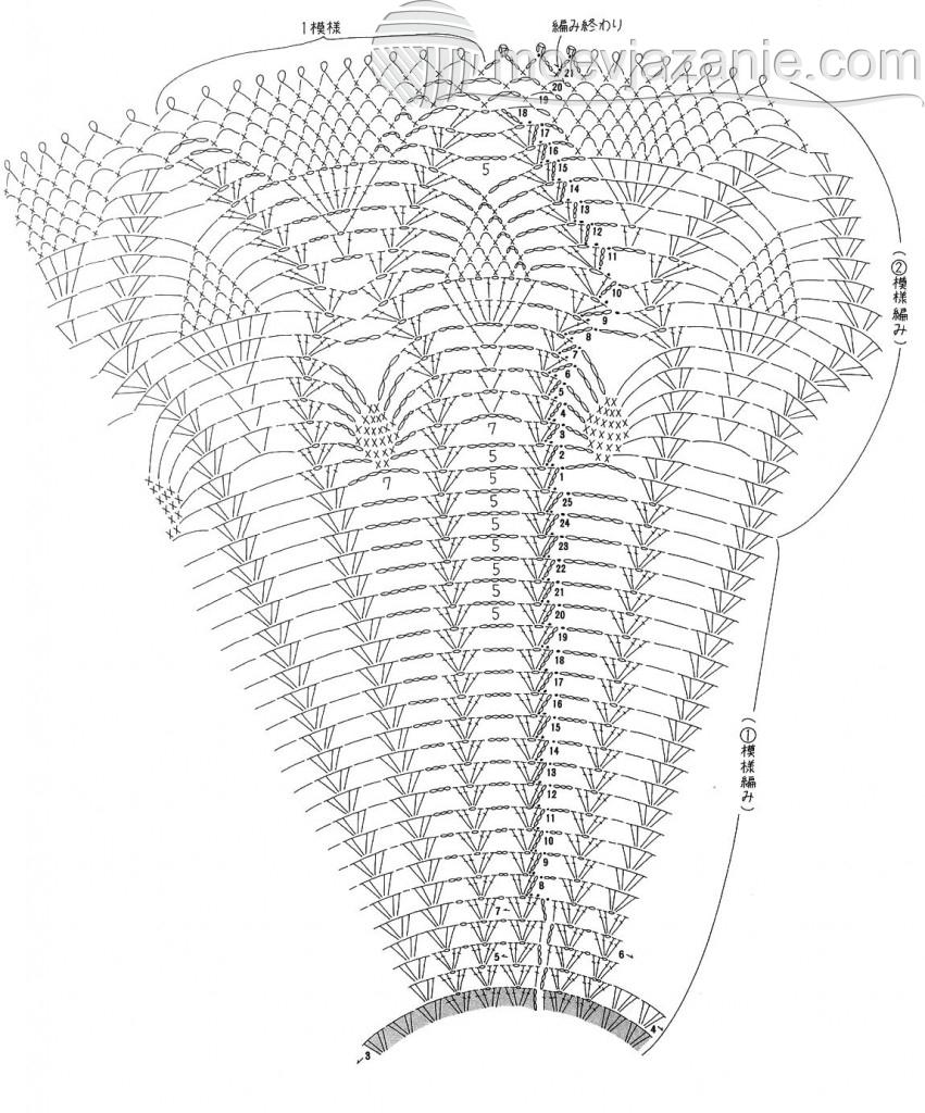 круговое ажурное вязание