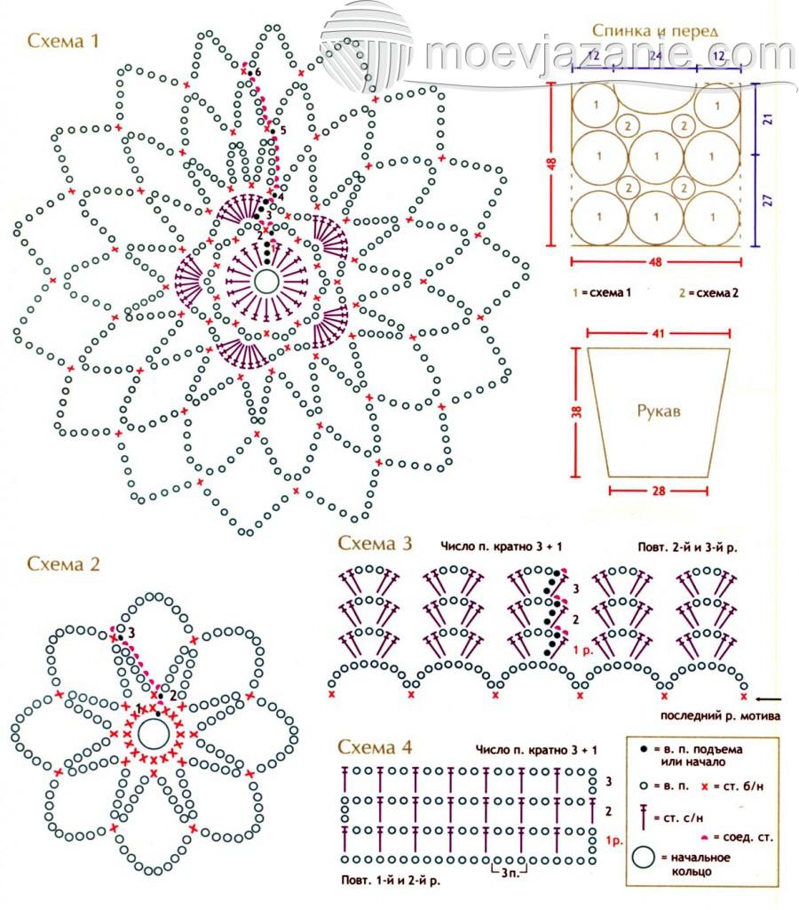 схема кофты Черная орхидея