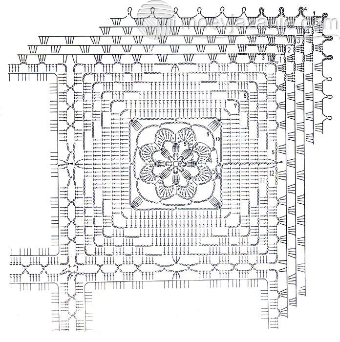 Скатерть из мотивов с розами схема